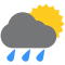 Durante la prima parte della giornata Poco nuvoloso con piogge moderate tendente nella seconda parte della giornata Nubi sparse con qualche pioggia